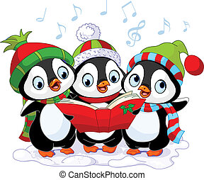 carolers, noël, pingouins