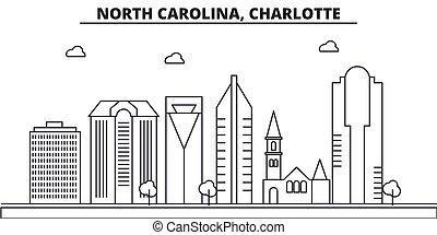 carolina, charlotte, wtih, norte, illustration., ciudad, ...