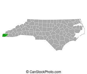 carolina, mapa, norte, cherokee