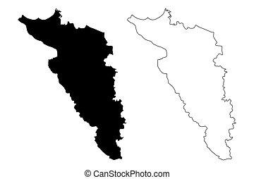 Carolina municipality (Commonwealth of Puerto Rico, Porto Rico, PR, Unincorporated territories of the United States) map vector illustration, scribble sketch Carolina map