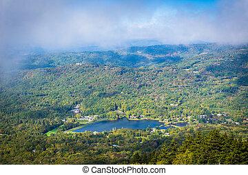 carolina., norte, avô, lago, montanha, vista