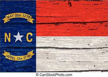carolina norte, bandeira estatal, ligado, antigas, madeira