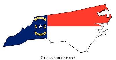 carolina norte, esboço, mapa, e, bandeira