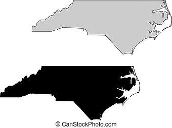carolina norte, map., preto, white., mercator, projection.