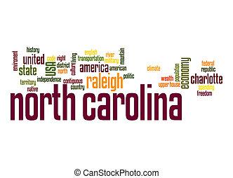 carolina norte, palavra, nuvem