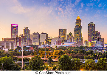 carolina, skyline, norte, charlotte, eua