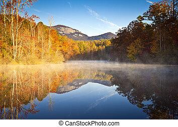 carolina sul, outono, amanhecer, paisagem, tabela, rocha,...