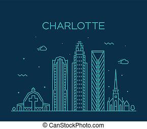 caroline, charlotte, nord, usa, ville, vecteur, horizon