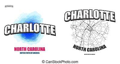 caroline, nord, dessin-modèles, deux, logo, charlotte