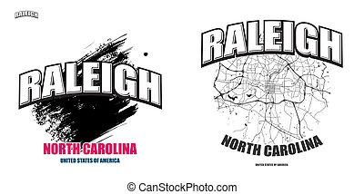 caroline, nord, dessin-modèles, deux, raleigh, logo
