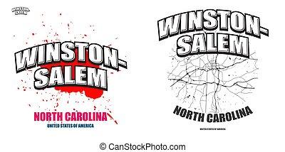 caroline, nord, dessin-modèles, deux, winston?salem, logo