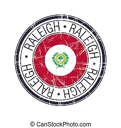 caroline, raleigh, ville, timbre, vecteur, nord