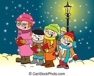 Caroling kids - Vector illustration of a group of kids...