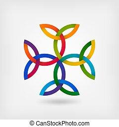Carolingian cross trinity knots. celtic symbol in gradient...