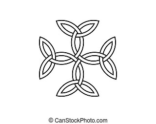 Carolingian cross. Triquetra symbol. Vector illustration