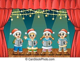 carols, bambini, cartone animato, canto, natale, palcoscenico