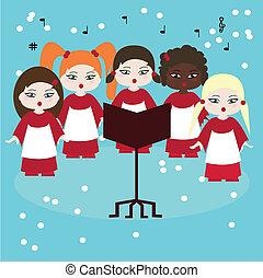 carols, coro, cantando, neve