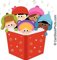 carols., groupe, illustration, enfants, vecteur, chant, noël