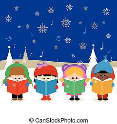 carols., groupe, illustration, enfants, vecteur, chant, noël