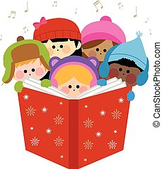 carols., gruppo, illustrazione, bambini, vettore, canto, natale