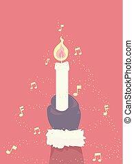 carols, ilustração, mão, luzes, santa, vela