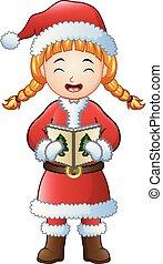 carols, isolato, natale, fondo, ragazza, canto, bianco, cartone animato