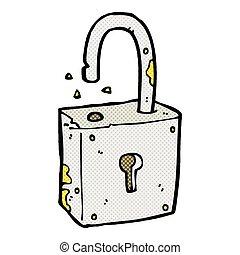 caroon rusty old padlock - retro comic book style cartoon...