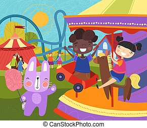 carosello, detenere, appiccicoso, loro, rosa, filo seta, due, colorito, caramella, o, divertimento, sentiero per cavalcate, giovane, giostra, zona fieristica, bambini, coccolare, guardato, presa a terra, coniglio