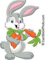 carota, cartone animato, coniglio, presa a terra