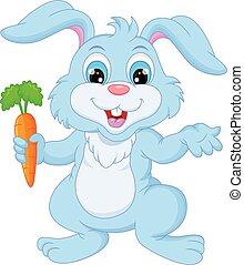 carota, coniglio, cartone animato, presa a terra, felice