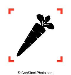 carota, segno, illustration., nero, icona, fuoco, angoli, bianco, b