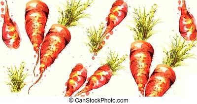 carote, modello, watercolor., vettore, veggies, primavera, illustrazioni, fresco