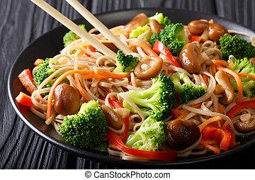 carote, primo piano, food:, piastra., soba, funghi, giapponese, peperoni, broccolo, tagliatelle, orizzontale