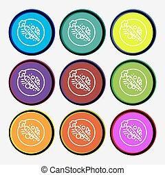 Carott icon sign. Nine multi colored round buttons. Vector