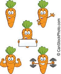 carotte, ensemble, caractères, collection, 1.