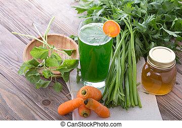 carotte, et, épinards, mélange, jus