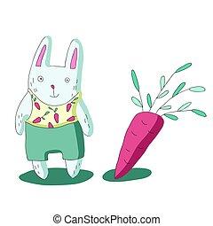 carottes, mignon, simple, caractère, isolé, illustration, dessin animé, vecteur, lapin, style.