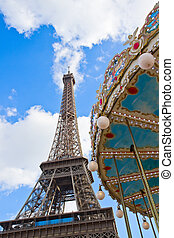 Carousel at the Eiffel Tower, Paris - Vintage carousel at...