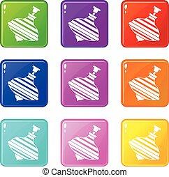 carousel, brzęczący, górny, ikony, 9, komplet