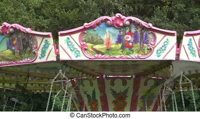 Carousel details from an amusement park