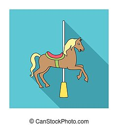Carousel for children. Horse on the pole for riding.Amusement park single icon in flat style vector symbol stock illustration.