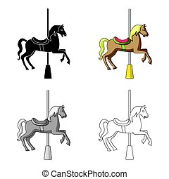 Carousel for children. Horse on the pole for riding