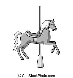 Carousel for children. Horse on the pole for riding.Amusement park single icon in monochrome style vector symbol stock illustration.