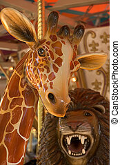 Carousel Giraffe - Close up of a carousel giraffe with lion...
