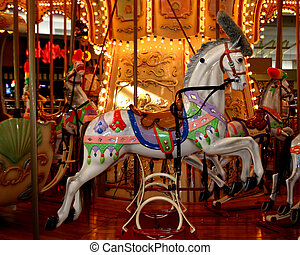 Closeup of Carousel at local mall