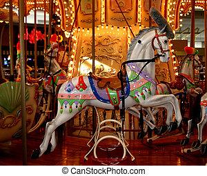 Carousel horse - Closeup of Carousel at local mall