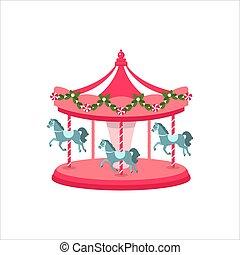 Carousel horse. Illustration of a carousel. Festival. Vector