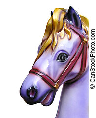 Carousel horse isolated - Wooden carousel horse isolated on...