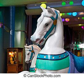 Carousel Horses at an Arcade