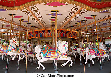 Carousel horses - Empty carousel merry go round park...